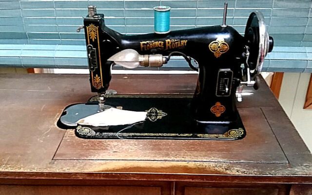 Vintage Florence  Rotary Sewing Machine with Wooden Cabinet + Accessories