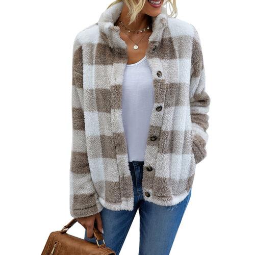 Womens Plaid Fluffy Plush Coat Ladies Soft Winter Warm Jacket Faux Fur Outwear