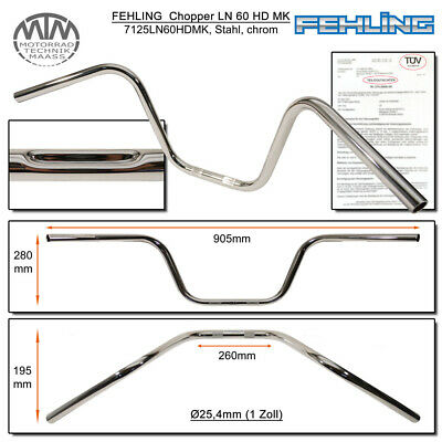 Steel Handlebar 1 Inch Chrome Width 905 mm