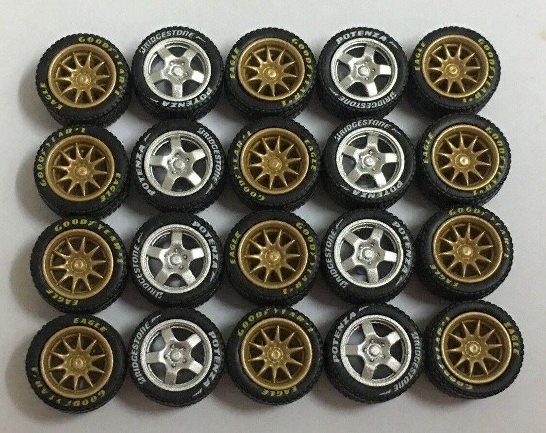 1 64 neumáticos de goma-Plata oro CE28 T5 ajuste Hot Wheels Diecast - 5 Juegos-R357