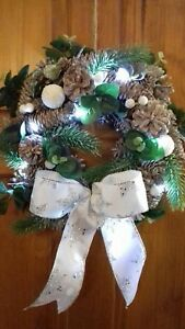 12-034-CHRISTMAS-WREATH-DECORATION-DOOR-ARTIFICIAL-WITH-LIGHTS-SILVER-BOW