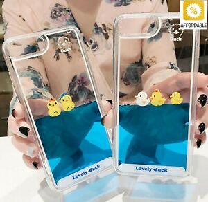 Liquid Quicksand Luxury Mobile Phone Cover Cases 3D Swimming Duck Animal Dynamic