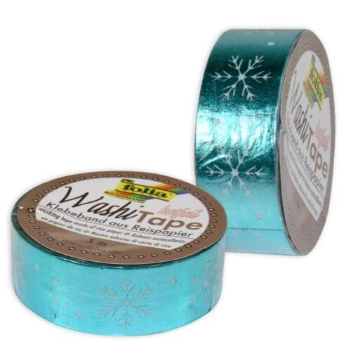 Eisblau mit Schneeflocken Washi Tape 1 Rolle