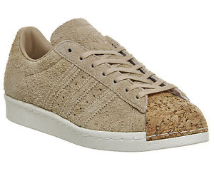 f61081b1c3da Womens Adidas Superstar 80s PALE NUDE SUEDE CORK TOE Trainers Shoes ...
