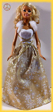 🌸 Barbie Happy Holiday Wishes Doll Gold Dress Gown Christmas Winter 2011 🌸