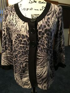 Clothing, Shoes & Accessories Black And Gray Leopard Print Cardigan Size Small