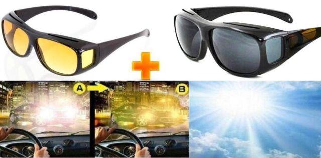 2er Set   Nachtsichtbrille Kontrastbrille & Sonnenbrille  Tag & Nacht Überbrille