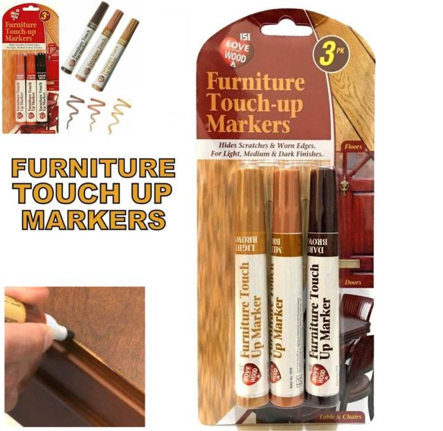 3 Touch up Marker Pen for Wood Floor Furniture Repair Light Medium & Dark Brown