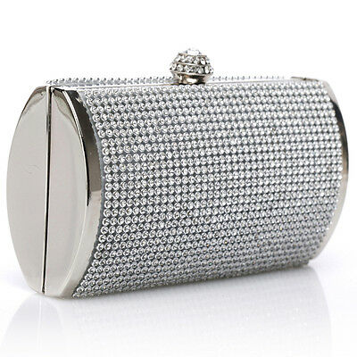 Elegant Silver Rhinestone Clutch Bag Wedding Evening Party Purse Chain Handbag