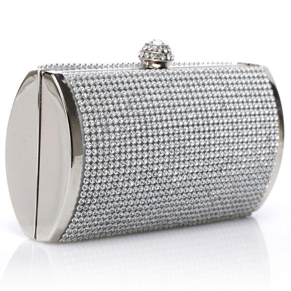 Silver Clutch Party Bag Women Purse Evening Wedding Handbag Rhinestone Shoulder