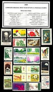 1969-COMPLETE-YEAR-SET-OF-MINT-NH-MNH-VINTAGE-U-S-POSTAGE-STAMPS