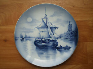 Faience-PLAT1-Decorative-st-Amand-Boat-Port-Navy-Antique-Ceramic-White-Blue