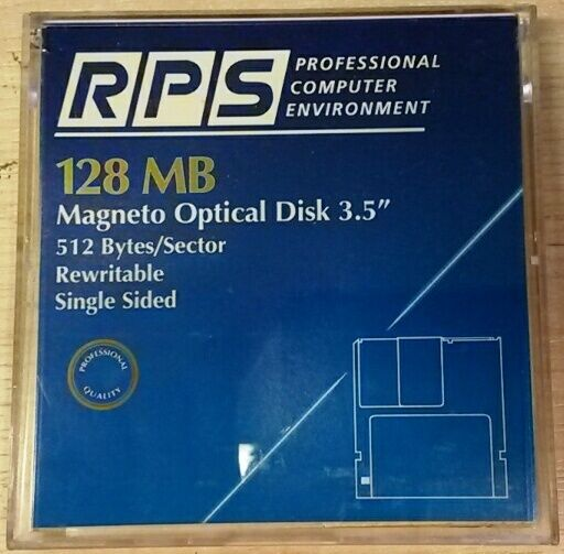 "128MB MO Rewritable Magneto Optical Disk 3.5"" New"