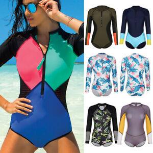 Women-Rashguard-One-Piece-Long-Sleeve-UV-Protection-Surfing-Swimsuit-Swimwear-F