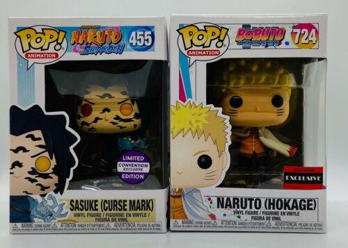 2x FUNKO POP SASUKE CURSE MARK /& NARUTO HOKAGE #455 /& #724 EXCLUSIVE FIGURE SET