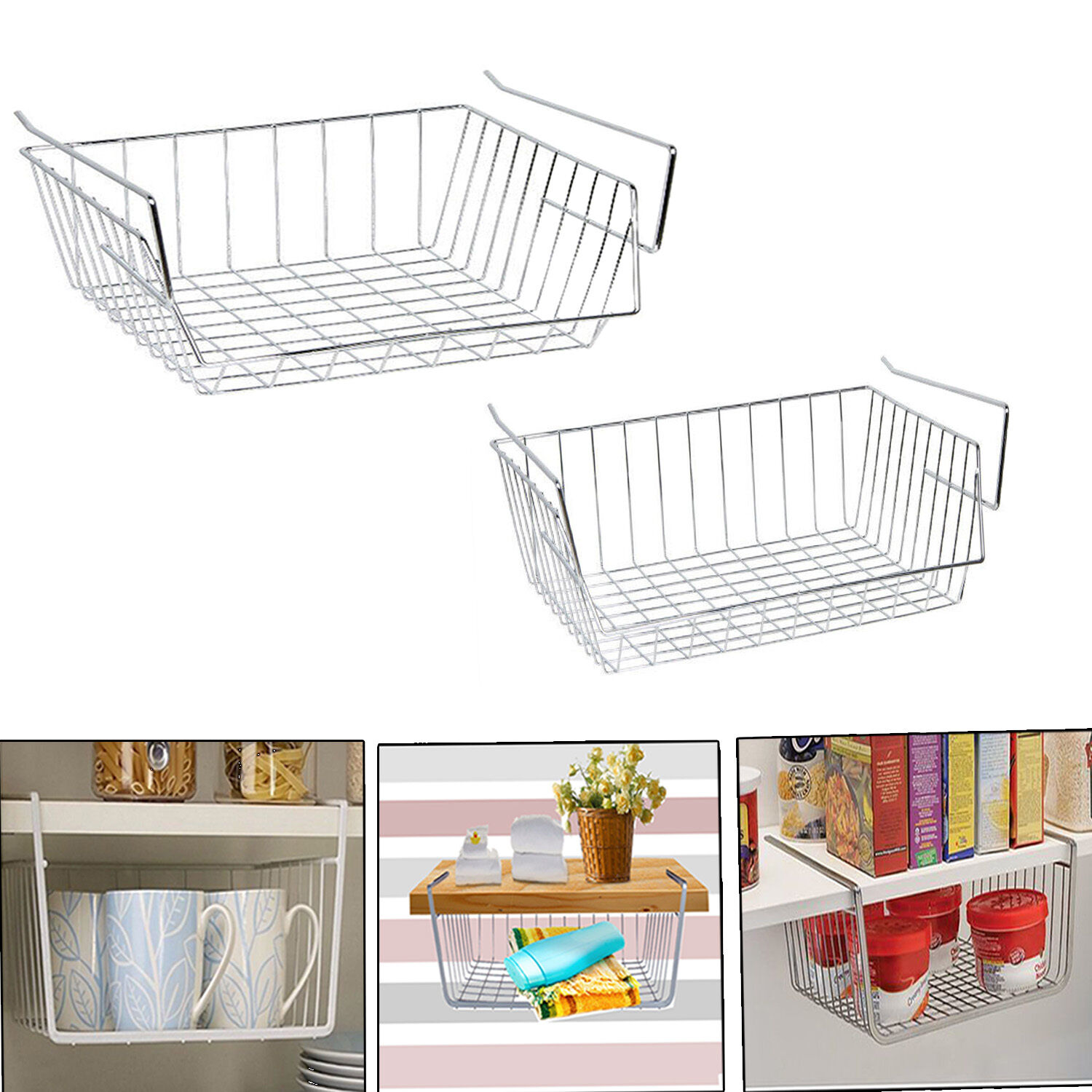 Kitchen Cabinet Baskets: CHROME UNDER SHELF STORAGE LARGE/MEDIUM BASKET KITCHEN