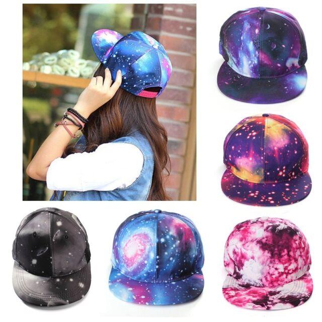 Women Men Galaxy Print Star Hip Hop Cap Snapback Baseball Flat Adjustable Hat