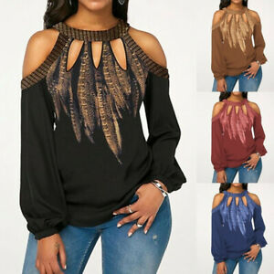 Plus-Size-Women-Off-Shoulder-Long-Sleeve-Tops-Shirt-Ladies-Loose-Floral-Blouse