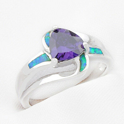 925 Sterling Silver White Gold Mystical Amethyst Fire Blue Opal Ring Size 7