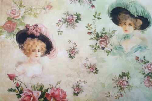 Sheet Craft Vintage Rice Paper for Decoupage Romantic Ladies 1 Scrapbooking