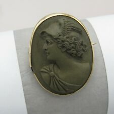 Antique Victorian 10k Gold Carved Hermes Lava Cameo High Relief Brooch Pin