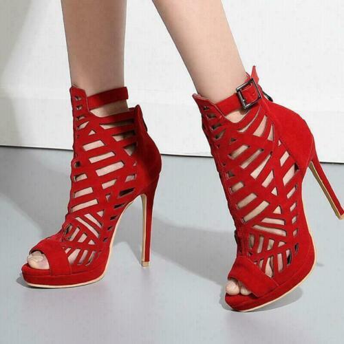 Details about  /Women Ankle Boots Pumps Shoes Sandals Peep Toe Hollow Out Stiletto Heel OL 33-52