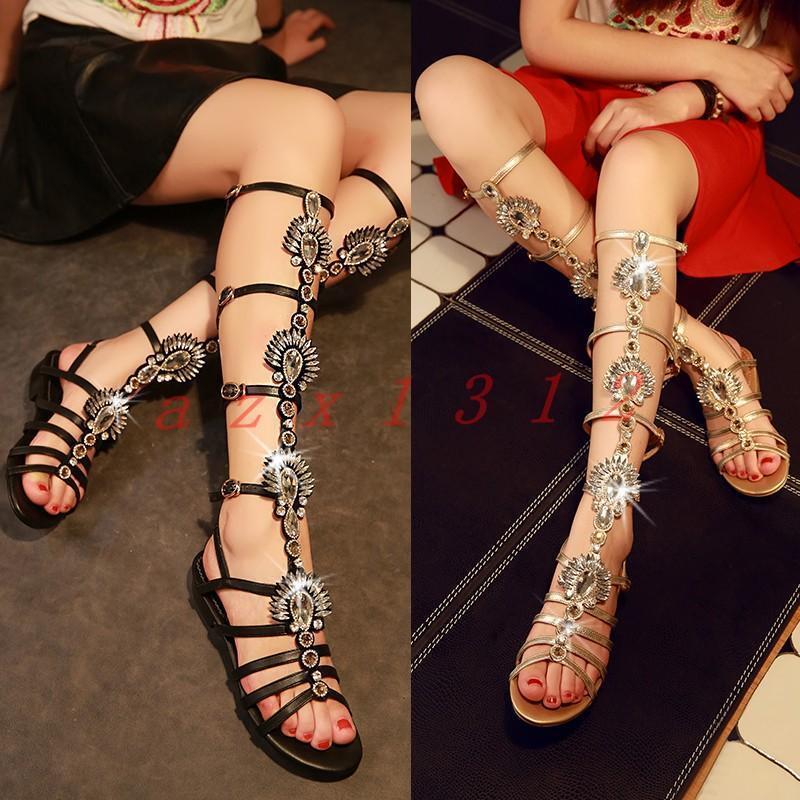 Rohomme pour femme fashion plates bottes hautes Sandales Gladiateur Strass chaussures