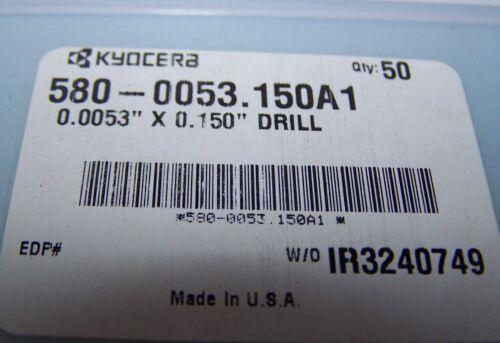 ".150/"" flute length .135mm .0053/"" Kyocera micro carbide drill"