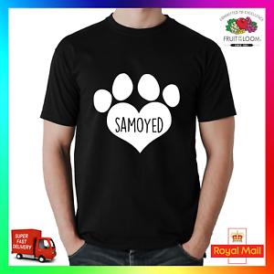 Samoyed T-Shirt Shirt Printed Tee I Love Heart Paw Dog Pet Puppy Dogs Unisex