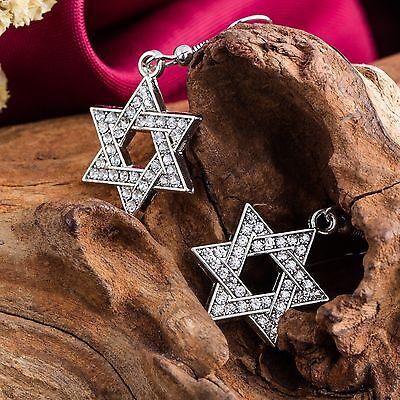 Sparkling Crystal Dangle Post Jewish Star of David Fashionable Earrings