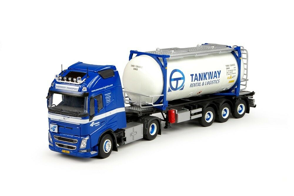 Tekno 68345 - Volvo FH04 Globetredter XL with Trailer and Swap Tank Container Ta