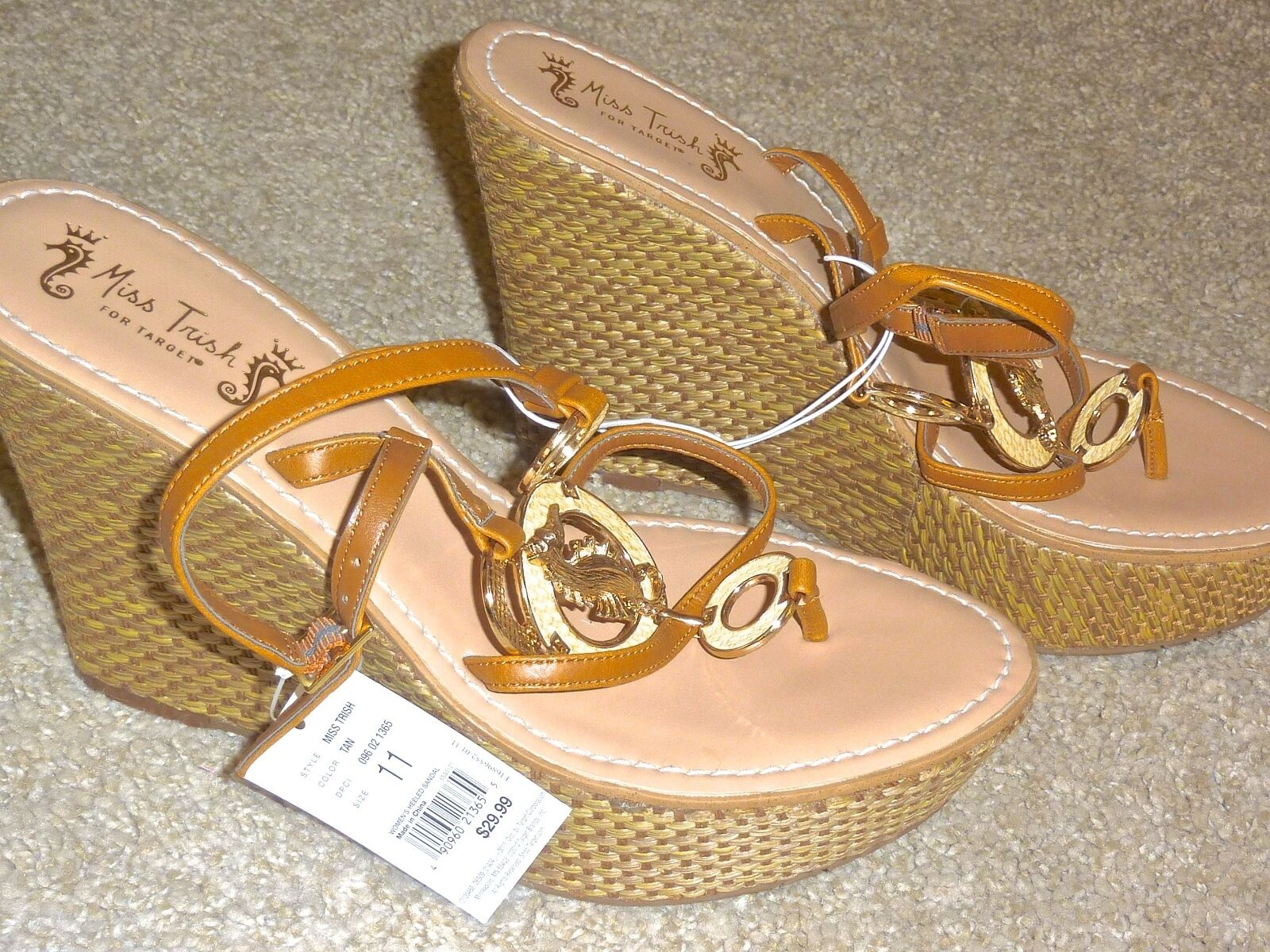 NEW Miss Trish Trish Miss Of Capri For Target Tan Seahorse Platform Wedge Sandals 11 ad3e61