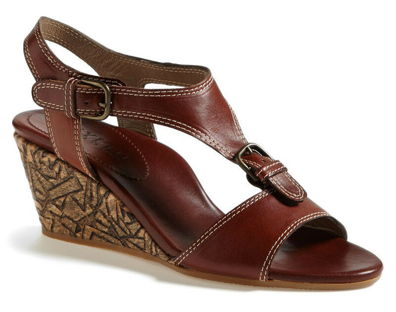 NEW ANYI LU Lolita Cork Wedge T-Strap Leather Sandal Terracota Brown EUR 39 US 9