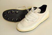 Vintage Adidas Shoes Athletic Golf Running White Spikes Yugoslavia 1970