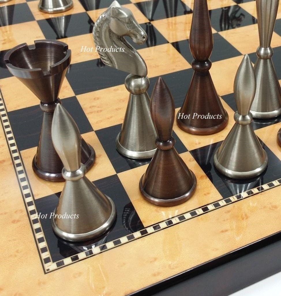 Laiton  Métal Moderne Staunton Chess Set avec 15  Noyer Athlétisme Maple finition Board  100% de contre-garantie authentique