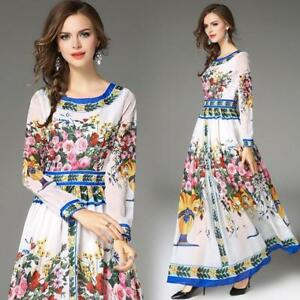 Womens-Full-Length-Ball-Gown-Floral-Dress-Maxi-Swing-Holiday-Chiffon-Retro-2018