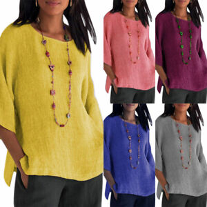 Women-3-4-Sleeve-Baggy-Blouse-Loose-Ladies-Casual-Tunic-T-Shirts-Tops-Tee-Autumn