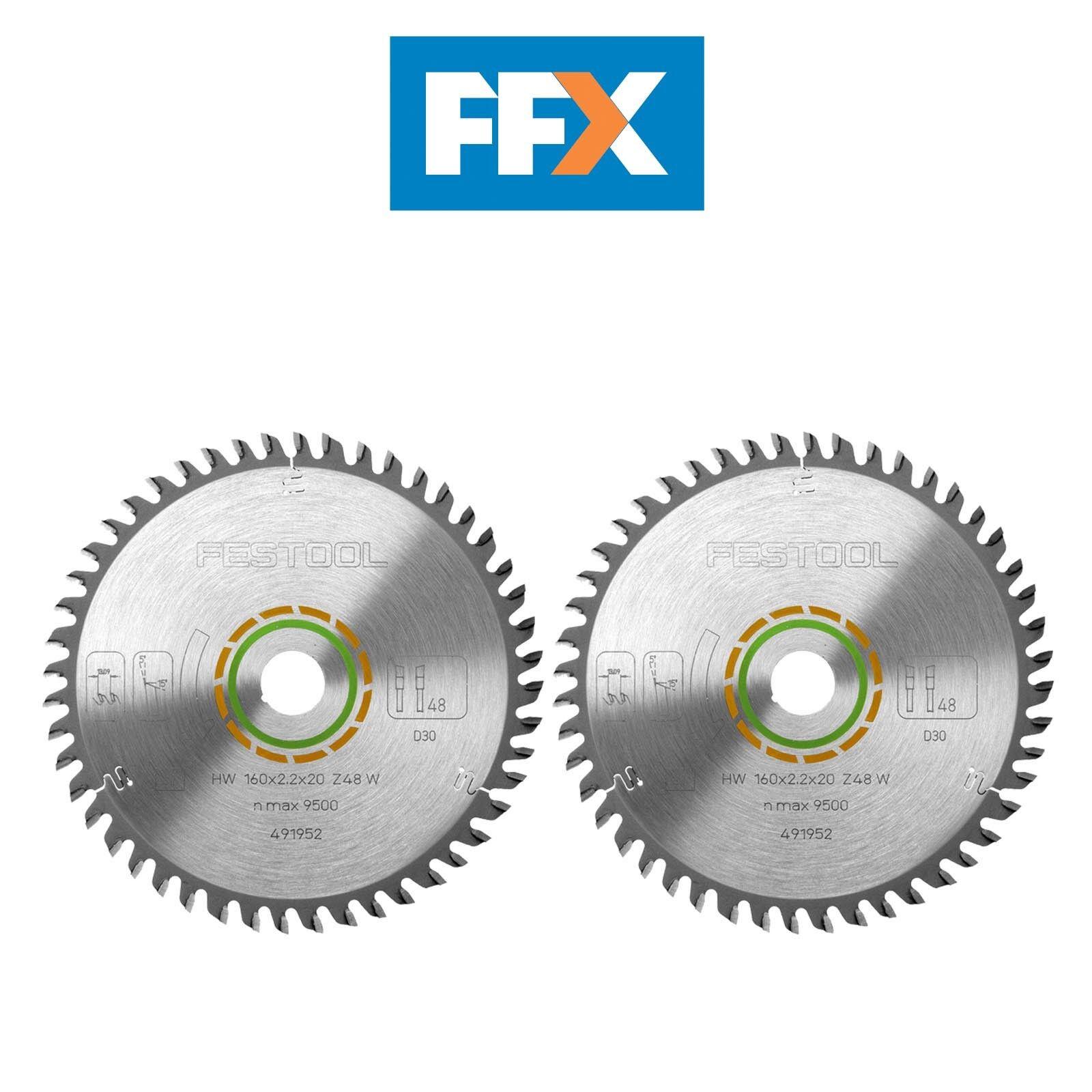 Festool 491952 2pk Fein Zahn Sägeblatt TS55 160mm X 20mm X 48T