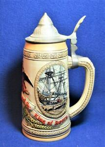 "1986 CERAMARTE Handcrafted Brazil BUDWEISER ""H"" Series Lidded Beer Stein #20431"