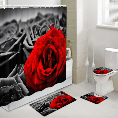 Red and Black Roses Shower Curtain Toilet Cover Rug Mat Contour Rug Set