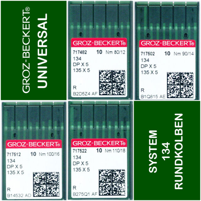 Groz Beckert Nähmaschinennadeln Rundkolben System 1738 R Nadelstärke 80//12