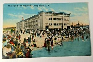 Antique-Postcard-Municipal-Baths-amp-Beach-Coney-Island-NY-Unposted-American-Art