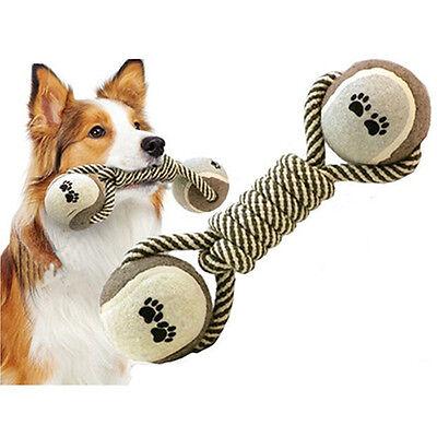 Elegant Dumbbell Rope Tennis Pet Chew Toy Puppy Dog Clean Teeth Training Tool