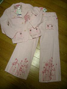 Completo-BARBIE-giacca-pantalone-palazzo-bambina-3-4-anni-in-cotone-rosa-Nuovo