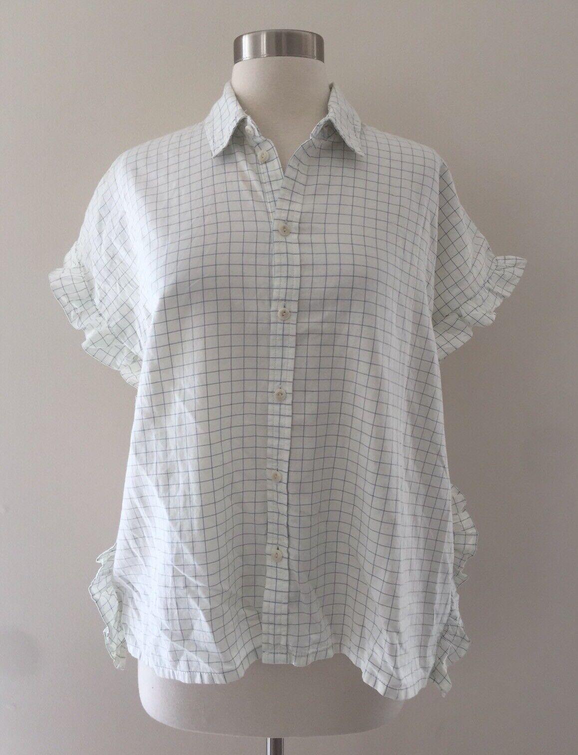 New Madewell Windowpane Ruffle-side Shirt Top Blouse Off Weiß Sz S Small G7333