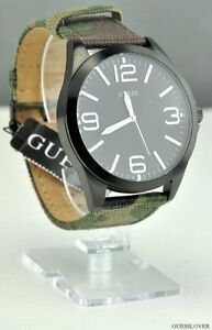 NWT-Unisex-Men-Watch-GUESS-Camuflauge-Leather-Classic-New-U0181G5