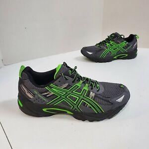ASICS-Gel-Venture-5-Mens-8-4E-Running-Shoes-Black-Green-Silver-T5N3Q-wide