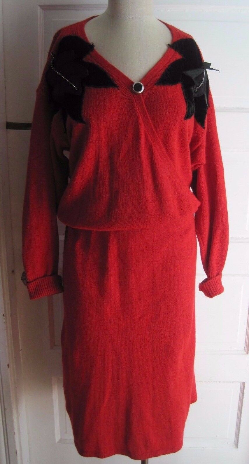 Vtg Mr. Mort Knit Wrap Blouson Sweater Dress Leaf Applique Womens M Silk Angora