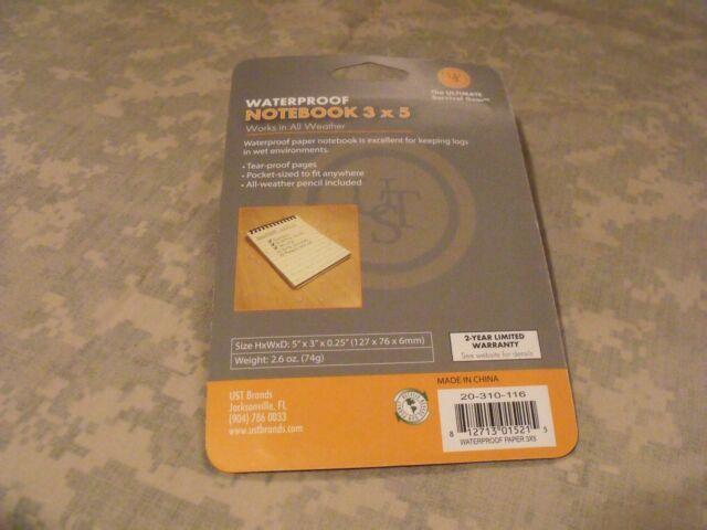 NEW UST Waterproof Notebook 3 x 5 Model 20-310-116