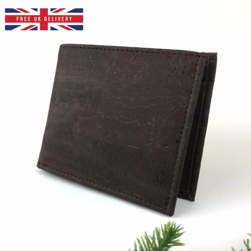 Mens Brown Wallet Cork Trifold Minimalist Slim Coin Pocket ID Card Holder Brown